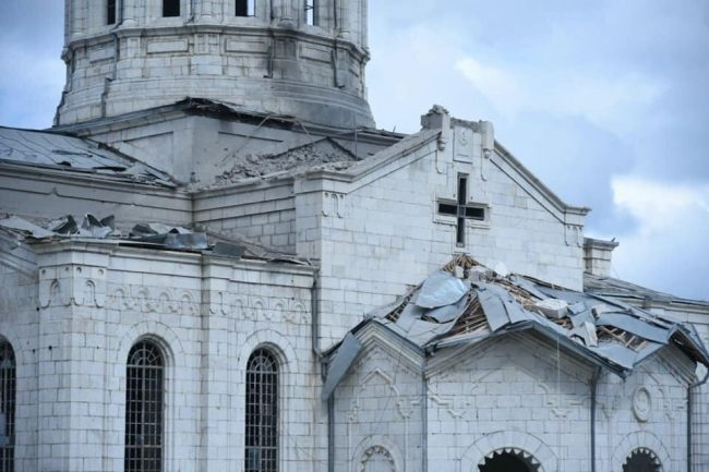 Nagorno-Karabakh -- Ghazanchetsots Cathedral in Shoushi after rocket fire by Azerbaijani armed forces, 08Oct2020