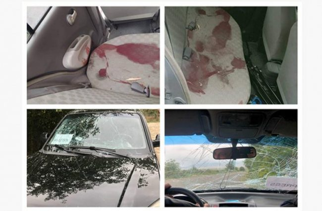 Collage of vehicles carrying journalists, which came under fire in Artsakh
