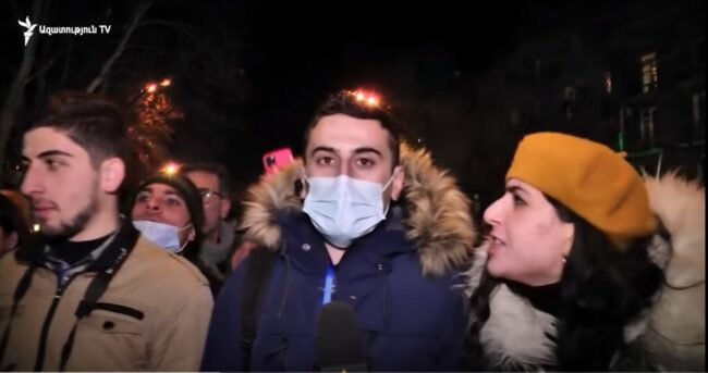 Armenia -- A correspondent and a cameraman of RFE/RL's Armenian Service were assaulted while covering an opposition demonstration in Yerevan, 23Feb2021